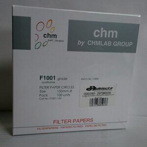 PAPEL DE FILTRO CUALITATIVO GRADO F1001-150. DIÁMETRO: 15.0 cm. MARCA CHMLAB