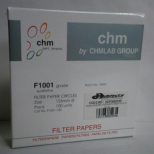 PAPEL DE FILTRO CUALITATIVO GRADO F1001-125. DIÁMETRO: 12.5 cm. MARCA CHMLAB