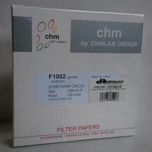 PAPEL DE FILTRO CUALITATIVO GRADO F1002-150, DIÁMETRO: 15.0 cm. MARCA CHMLAB
