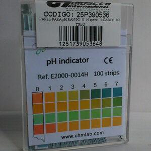 PAPEL PARA pH RANGO: 0-14 APREC: 1. CAJA x 100 TIRAS. MARCA CHMLAB